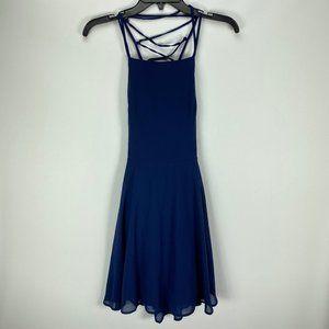 NEW Lulus Navy Blue Good Deeds Lace Up Mini Dress